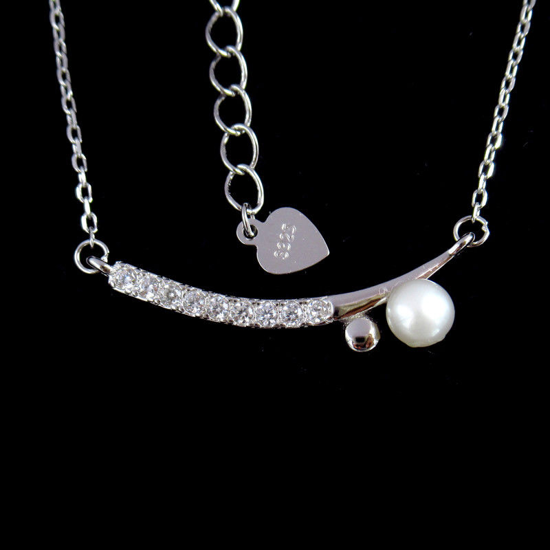 European Silver Pearl Necklace / White Gold Freshwater Pearl Necklace 925 Silver
